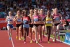 Laura Weightman (GB) up with the leaders in the 1500 metres at the IAAF Diamond League, Birmingham.