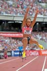 Jessica Ennis-Hill taking part in the long jump at the  2013 IAAF Diamond League, Sainsbury's Anniversary Games, Queen Elizabeth Olympic Park, London.