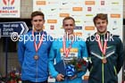 From left to right: Tom Burton 2nd, Niall Flannery winner and Seb Rodger 3rd in the 400 metres hurdles, 2014 Sainsbury's British Championships. Photo: David T. Hewitson/Sports for All Pics