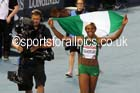 Blessing Okagbare (Nigeria) after winning the 100 metres at the Commonwealth Games, Glasgow. Photo: David T. Hewitson/Sports for All Pics